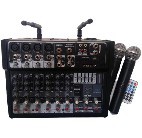 - Lentus LNT 800 M 8 Kanal Çift El Kablosuz Mikrofonlu Power Mixer